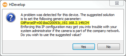 Figure 3: HDevelop suggest to force a valid IP configuration