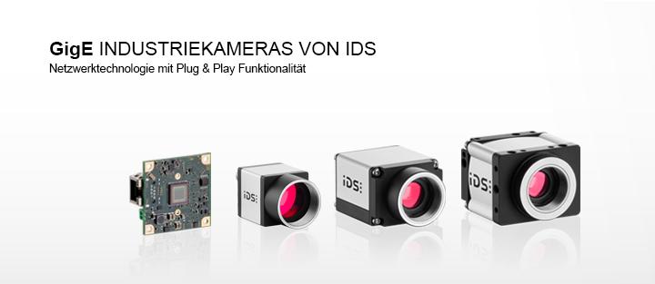 ---IDS Gigabit-Ethernet-Kamera als Gehäusevariante, Boardlevelvariante und PoE-Kamera